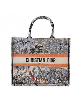 Christian Dior Embroidered Toile De Jouy Tropicalia Canvas Book Tote Denim Blue by Christian Dior
