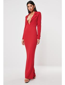 Red Tuxedo Style Fishtail Maxi Dress by Missguided