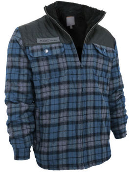 Men's Heavy Fleece Lined Sherpa Hoodie Plaid Flannel Jacket With Hood by Elevani, Vkwear