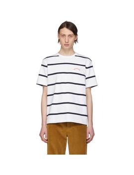 White & Navy Stripe 'hallelujah' T Shirt by Noah Nyc