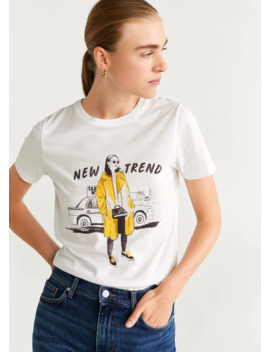 Μπλουζάκι εμπριμέ βαμβακερό by Mango