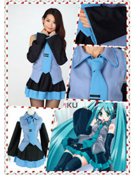 Hatsune Miku Vocaloid Anime Dress With Tie Halloween Cosplay Party Costume New by Cosplay Party