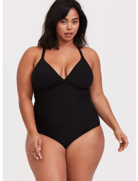 Black Textured Shadow Stripe Lightly Lined Wireless One Piece Swimsuit by Torrid