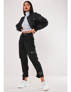 Petite Black Buckle Detail Cargo Pants by Missguided