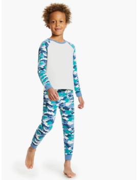 John Lewis & Partners Boys' Camouflage Print Pyjamas, Green by John Lewis & Partners