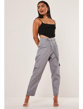 Black D R Ing Turn Up Hem Cargo Pants by Missguided
