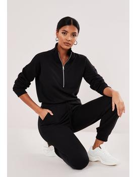 Petite Black Drop Shoulder Zip Front Jumpsuit by Missguided