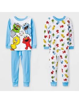 Toddler Boys' 4pc Sesame Street Pajama Set   White/Blue by Sesame Street