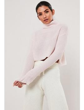 Pink Roll Neck Cropped Jumper by Missguided