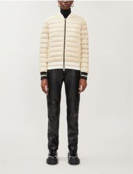 Metallic Striped Trim Quilted Shell Down Jacket by Moncler