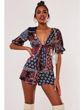 Burgundy Scarf Print Kimono Sleeve Playsuit by Missguided