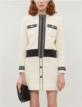 Joppy High Rise Tweed Mini Skirt by Maje