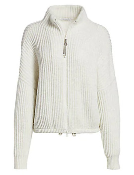 Zip Front Ribbed Sweater by Brunello Cucinelli
