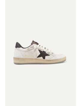 Ball Star Sneakers Aus Leder Mit Glitter Finish In Distressed Optik by Golden Goose