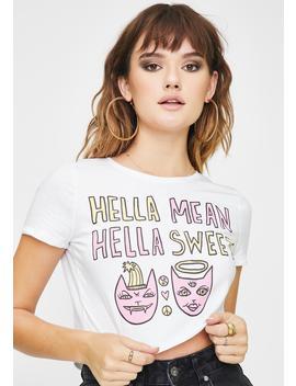 Hella Mean Graphic Crop Top by Cult Days