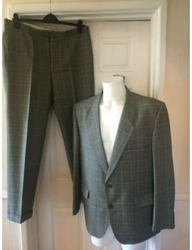 Christian Dior Monsieur Classic Grey Plaid Weave Wool Suit 44 R Jacket /38 W 32 L by Dior