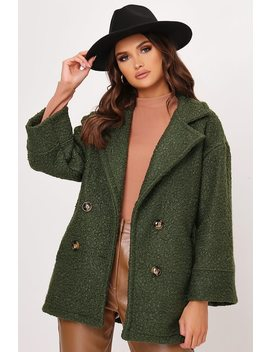 Khaki Boucle Double Button Coat by I Saw It First