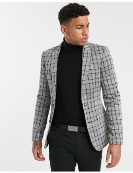 Asos Design Super Skinny Blazer In Gray Tonal Check Jersey by Asos Design