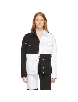 White & Black Denim Colorblocked Jacket by Msgm