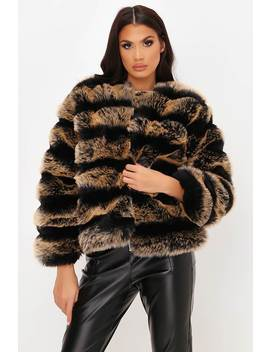 Brown Contrast Pelted Fur Coat by I Saw It First