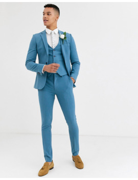 Asos Design Wedding Super Skinny Suit In Dusky Blue by Asos