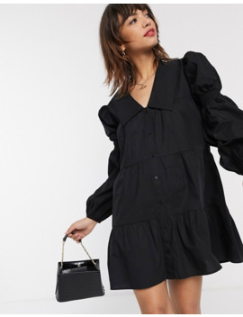 Stradivarius Black Popelin Dress With Big Collar by Stradivarius'