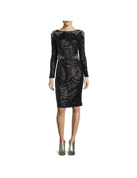 David Meister Two Tone Sequined Long Sleeve Sheath Cocktail Dress Black   2 by David Meister