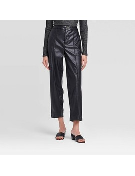 Women's Mid Rise Slim Straight Leg Ankle Pants   Who What Wear™ Black by Who What Wear
