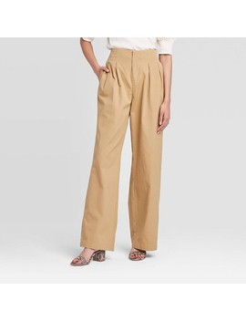 Women's High Rise Wide Leg Cropped Pants   Who What Wear™ Brown by Who What Wear