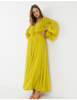 Asos Design Eivissa Soft Tiered Maxi Dress With Drawstring Waist And Sleeves by Asos Design