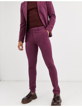 Asos Design Wedding Super Skinny Suit Trousers In Aubergine by Asos Design