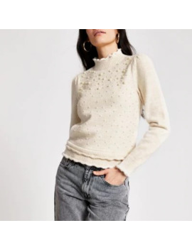 Cream Pearl Embellished Puff Sleeve Jumper by River Island