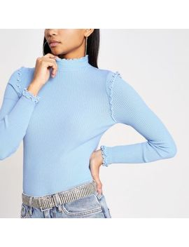Blue Frill Turtle Neck Rib Knitted Jumper by River Island