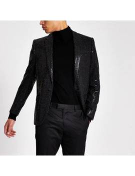 Black Sequin Skinny Fit Blazer by River Island