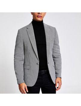 Black Check Print Skinny Fit Blazer by River Island