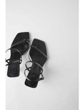 Mid Heel Strappy Leather Sandals by Zara