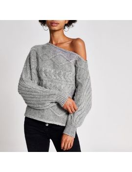 Grey Asymmetric Bardot Cable Knitted Jumper by River Island