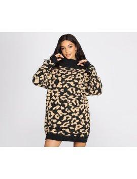 Angora Knit Leopard Print Sweater Dress by Windsor