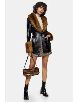 Black Faux Fur Trimmed Pu Coat by Topshop