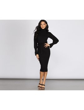 Caught In The Midi Turtleneck Sweater Dress by Windsor