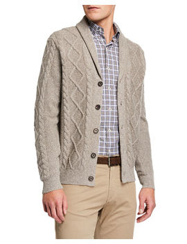 Men's Melange Cable Knit Cardigan Sweater by Neiman Marcus