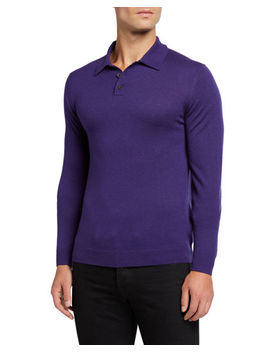 Men's Cashmere/Silk Long Sleeve Polo Sweater by Neiman Marcus