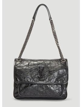 Vintage Leather Niki Bag In Black by Saint Laurent