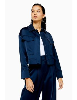 Navy Cropped Satin Utility Jacket by Topshop