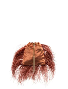 Mademoiselle Feather Trimmed Pouch Bag by Rosantica