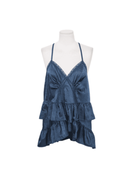 Lace Trim Tiered Sleeveless Top by Stylenanda