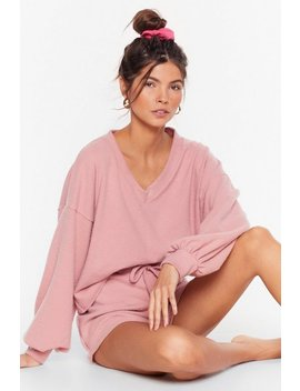 Recycled Shall V Stay In Bed Sweater And Shorts Set by Nasty Gal