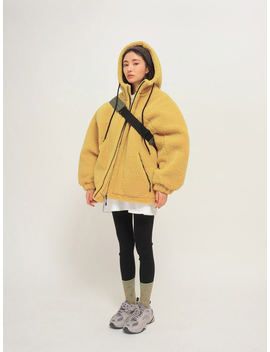 Fuzzy Zip Up Drawstring Hoodie The Delivery Starts From 30th Dec. Along With Your Purchase Order!! by Stylenanda