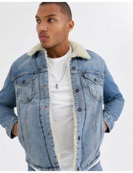 Levi's Skateboarding Sherpa Trucker Jacket In Blue by Levi's