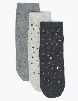 3 Pair Pack Star Print Ankle Socks by Marks & Spencer